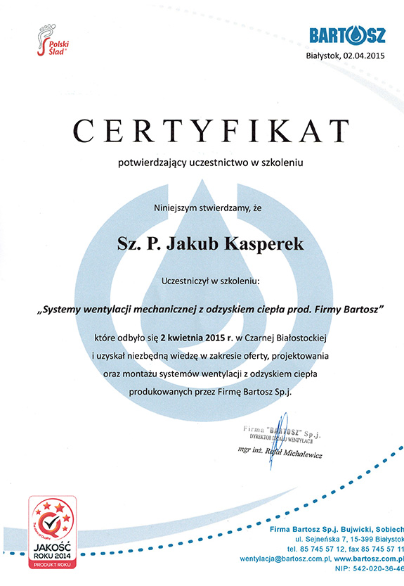 Certyfikatod od firmy Bartosz