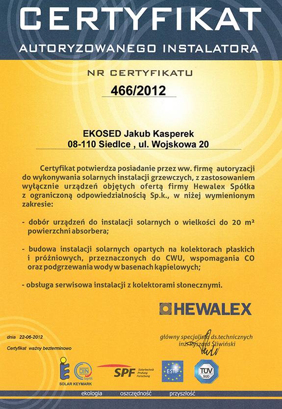 Certyfikat od firmy Hewalex