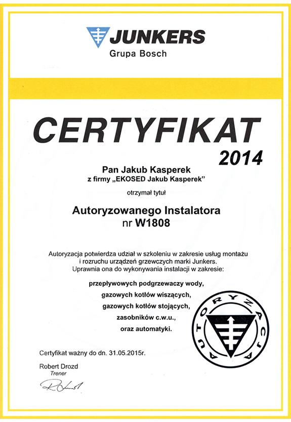 Certyfikat od firmy Junkers