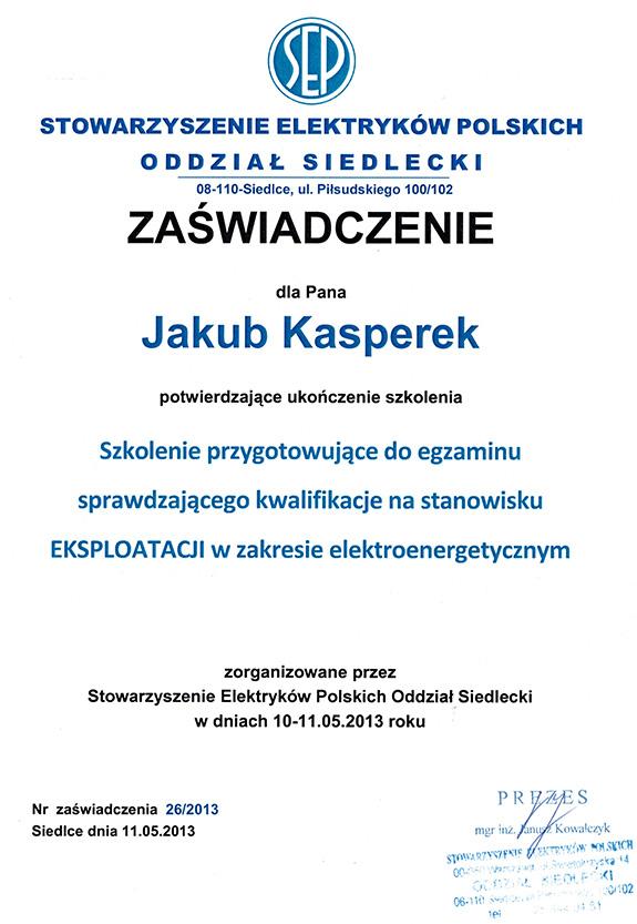 Zaświadczenie od Stowarzyszenia Elektryków Polskich