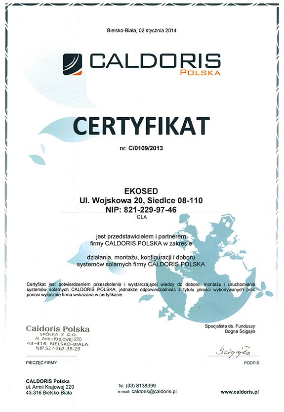 Certyfikat od firmy Caldoris