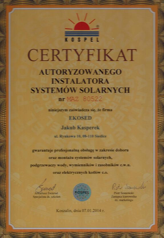 Certyfikat od firmy Kospel