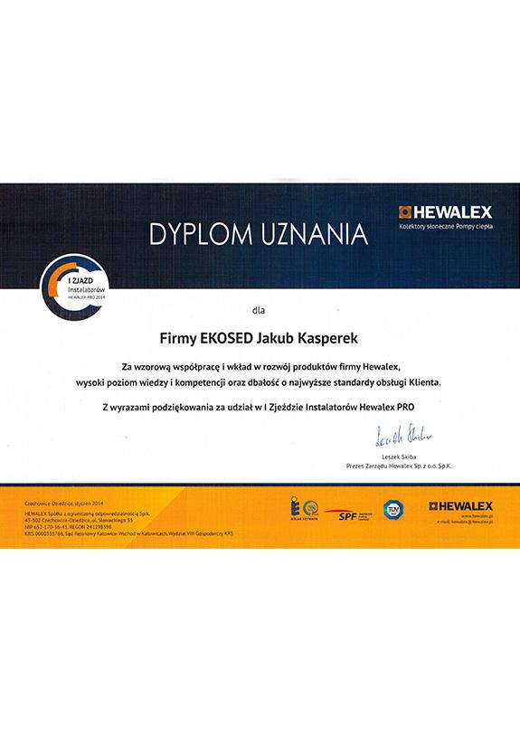 Dyplom od firmy Hewalex
