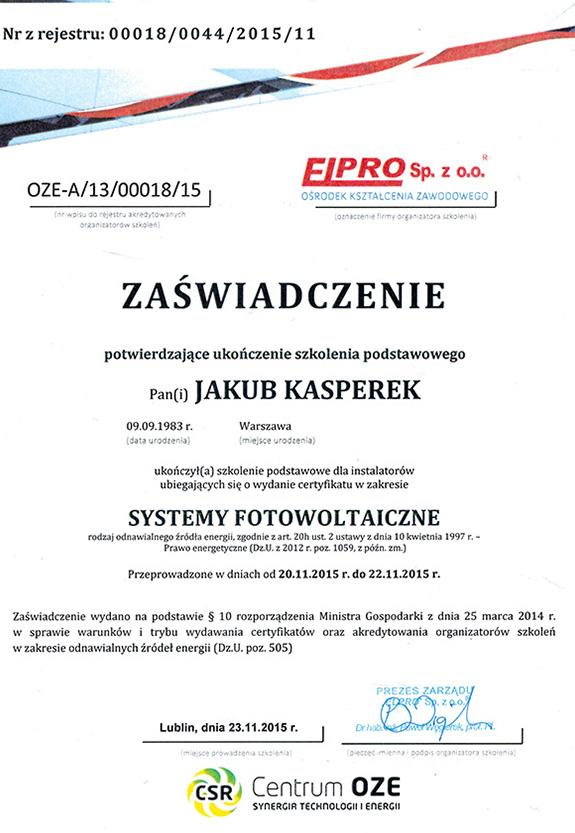 Zaświadczenie od firmy Eipro