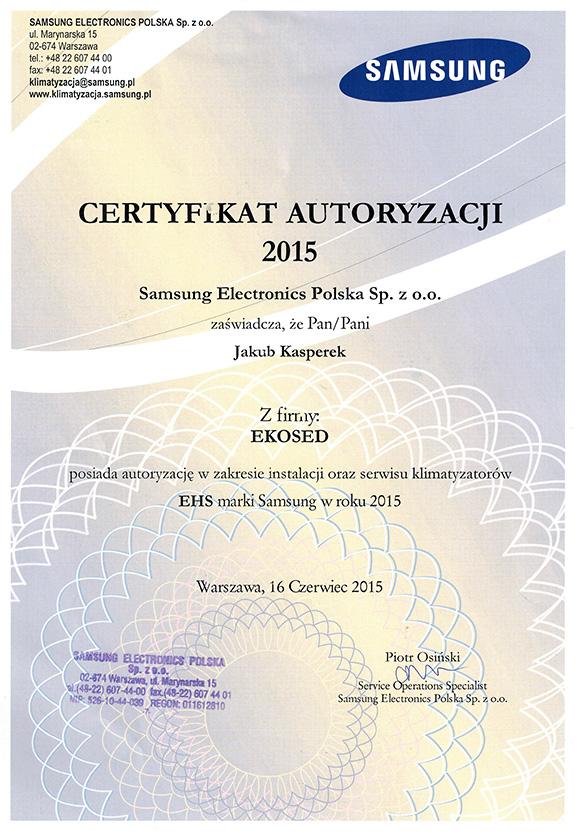 Certyfikat autoryzacji od firmy Samsung