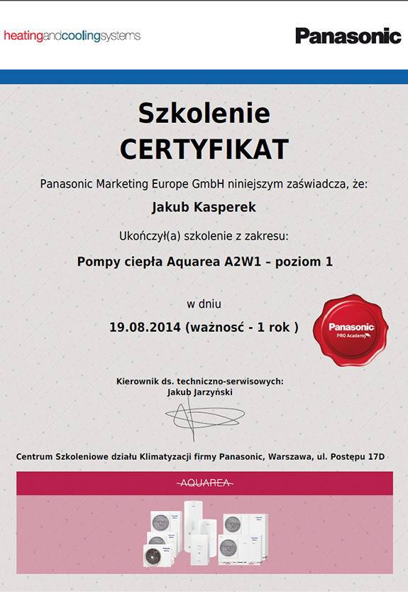 Certyfikat od firmy Panasonic