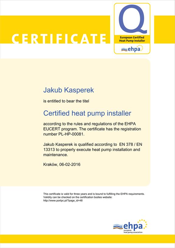 Certyfikat EHPA